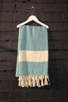 Carousel Diamond Turkish Towels in Aqua