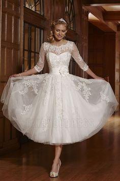 A Line Princess Jewel Neck Tea Length Wedding Dress With Flowers