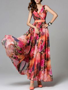 Red Chiffon Floral-print Floral Casual Maxi Dress