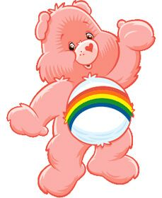 Pink carebear with rainbow on its belly