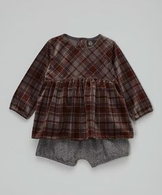 This Brown Plaid Tunic & Herringbone Bloomers - Infant & Toddler is perfect! #zulilyfinds
