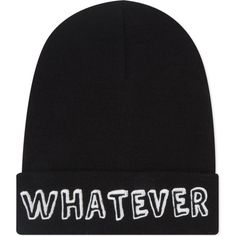 LOCAL HEROES Whatever beanie ($30) ❤ liked on Polyvore featuring accessories, hats, beanies, black, black hat, embroidered beanie, embroidered beanie hats, black beanie hat and embroidery hats
