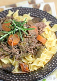Tender pot roast beef with fresh rosemary and veggies, slow cooked in the crock-pot straight from the freezer for an easy, weeknight dinner to welcome you home.