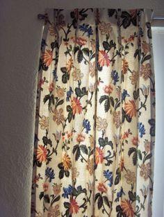 VINTAGE-BARK-CLOTH-CURTAINS-DRAPES-Lot-4-Pairs-Pinch-Pleat-Blue-Orange-Floral