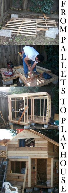 Pallet Playhouse on Cinder Blocks - made almost entirely out of discarded shipping containers and pallets! +