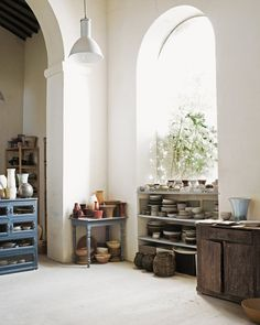 springgreens:  Christiane Perrochon's ceramics Atelier, Tuscany  dustjacketattic:  photo ditte isager | the inspired home
