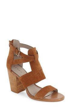 Hinge 'Cora' Block Heel Sandal (Women) at Nordstrom.com. A trend-right sandal with a structural, buttery-suede upper is lifted by a stacked block heel and finished with a back zip closure for easy on and off.