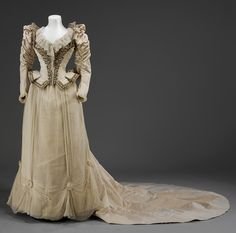 Wedding dress, 1890  From the V&A    #victorian #19th century