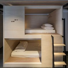 The lodgings build on Japan's renowned capsule hotel concept, featuring modern dorm rooms with 68 beds, one family room with two bunk beds, in addition to two private rooms with a balcony.