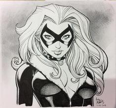 Black Cat by Art Adams 2018 Comic Book Artists, Comic Book Characters, Comic Artist, Comic Character, Comic Books Art, Artist Art, Spiderman Black Cat, Black Cat Marvel, Spiderman Art