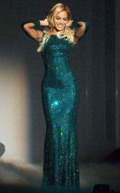 Beyonce's sparkly Vrettos Vrettakos dress at the #BritAwards