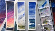 making watercolor bookmarks - YouTube