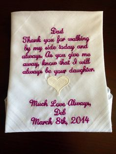 Father of the bride hankie...of all the walks by BridalEmbroidery, $20.00