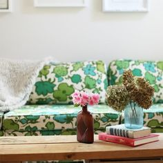 love the vintage fabric couch