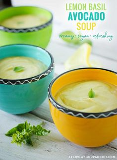 Lemon Basil Avocado Soup - creamy avocado soup gets a bright kiss from lemon basil. The perfect summer appetizer or brunch starter! Vegetarian Soup, Vegan Soup, Vegetarian Recipes, Paleo Vegan, Paleo Meals, Healthy Meals, Fresco, Soup Recipes, Cooking Recipes