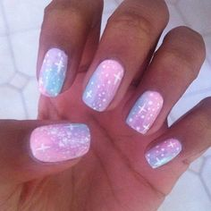 50 Gorgeous Galaxy Nail Art Designs and Tutorials 2018 Love Nails, How To Do Nails, Pretty Nails, Fun Nails, Sparkle Nails, Nail Art Designs, Tattoo Designs, Galaxy Nail Art, Galaxy 3