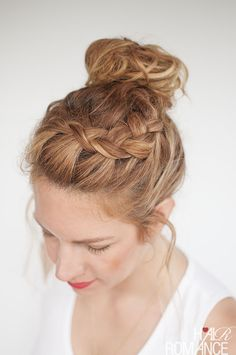 Everyday curly hairstyles - Curly Braided Top Knot Hairstyle Tutorial