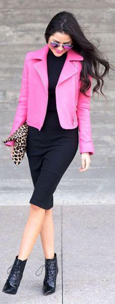 J Brand Pink Crop Moto Jacket by Pink Peonies