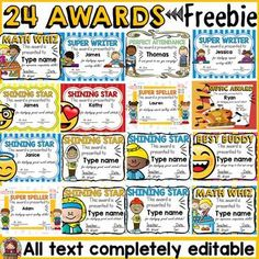Your students will love these 24 editable award certificates. The variety of designs, multicultural clipart and stylish font will surely motivate and bring a smile on your students' faces. Use them at the beginning of the year, during the year Kids Awards, Teacher Awards, Student Awards, Free Printable Certificates, Award Certificates, Free Printables, Certificate Templates, Award Template, Certificate Of Appreciation
