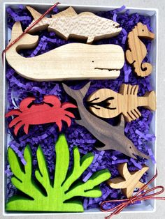 Sea Animal Set for Children Wooden Animal Blocks Organic Waldorf Toys Stocking Stuffer. $25.75, via Etsy.