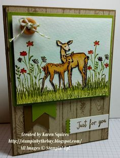 Stampin By the Bay - Karen Squires - In the Meadow Stampin Up set with watercoloring from the Occasions 2016 catalog