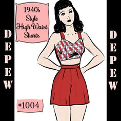 This is a digital, print-at-home pattern based on classic 1940s style high waist pin-up shorts. The shorts have a fitted waistband and darts at the front and back waist. The closure is an optional placket, or zipper at the side. The pattern is available in waist sizes 28-34. For fabric requirements, please see the third photo.  These shorts would be fabulous paired with a bikini top, beach bra, or great vintage blouse for a perfect 1940s summer look!  --This pattern is for the SHORTS ONLY…