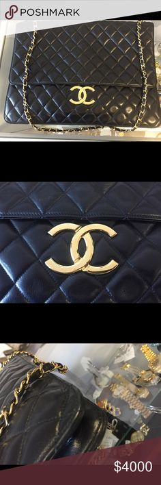 CHANEL Black Lambskin Leather Briefcase Bag This posting will be completed later today. I have to finish with the pictures at my friends boutique. If anyone out there knows the exact model of this bag, the only thing I know is that it is 100% authentic and that it's in impeccable condition. PLEASE SEND ME MESSAGES!!! CHANEL Bags