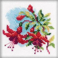 RTO Fuchsia - Cross Stitch Kit. Cross Stitch Kit featuring flowers. This Cross Stitch Kit comes complete with 14 Count Zweigart Aida, pre-sorted DMC floss, John
