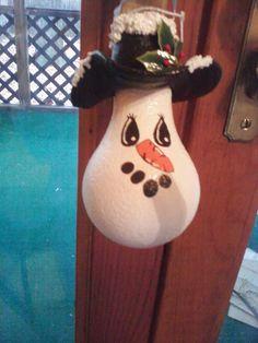 Snowman Lightbulb Ornament, $6.0