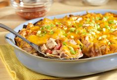 """There's a reason this casserole is called """"The King."""" This easy king ranch casserole is super simple to make and tastes amazing. Once you try this recipe for Beyond Easy King Ranch Casserole, you'll have your new go-to dinner recipe! King Ranch Casserole, Ranch Chicken Casserole, Turkey Recipes, Mexican Food Recipes, Chicken Recipes, Great Recipes, Favorite Recipes, Yummy Recipes, Potluck Recipes"""