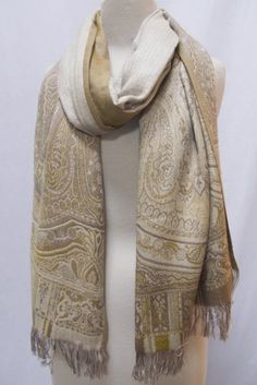 """Faded Paisley"" Silk Merino Wool Shawl Stole Scarf Wrap Beige Gold Ivory Steel Paisley. $139.00"