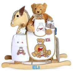 """Impress the new parents with a natural wood rocking horse gift set to welcome their new baby boy. It features a solid woodrocker personalized with baby's name. A beautiful baby boutique layette set is creatively attached making itan impressive and beautiful baby gift presentation!  CONTENTS:   Natural solid wood rocking horse Personalized!   Soft and plush 10"""" teddy bear   100% cotton interlock onsie   100% cotton interlock hat   Full size terry bib-Personalized!    Burp pad-    Quilted…"""
