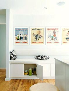 over the fridge cabinets topped with cushions to make a built in bench (living room bay window idea) Refrigerator Cabinet, Kitchen Cabinet Storage, Storage Cabinets, Kitchen Banquette, Banquette Seating, Cushions To Make, Built In Bench, Bench Seat, Storage Spaces