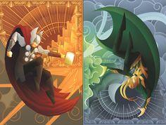 Thor and Loki - Really cool. Reminds me of Princess Celestia and Princess Luna.