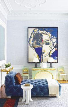 juan montoya living room vignette--large scale art, tufted velvet chaise, cobalt blue color palette