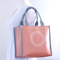 FREE Monogram or personalization Medium baby pink faux leather tote bag / vegan leather purse/ handpainted bag/ white doily print $54 coupon code FREESHIP50 for over $50