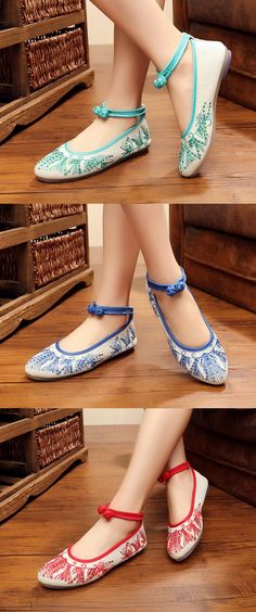 $17.54 White Canvas Embroidered Pattern Casual Retro Flat Shoes,Chinese Style Shoes,Folk Style Flats,Summer Shoes Flats