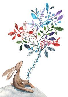 Dreamy Rabbit / Children watercolor by BarbaraSzepesiSzucs on Etsy, $25.00