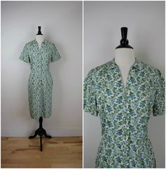 Vintage McMullen mid century shirtwaist dress / blue raspberry floral day dress / short sleeve collared shirt dress by OldSchoolSwank on Etsy