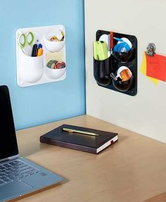 [Office/Kitchen] -Organize small items in office on file-cabinet or on the fridge in the kitchen.