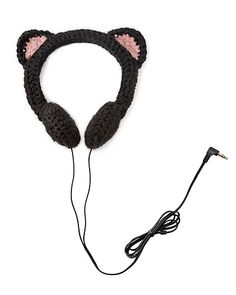 Black Cat Headphones As long as you don't call her a crazy cat lady, your coworker will purr when she receives these headphones covered in crocheted black cat ears. cat ear headphones gifts for coworkers white elephant gift ideas Grannies Crochet, Crochet Bows, Crochet Clothes, Crochet Flowers, Free Crochet, Warrior Cats, Cat Headphones, Gifts For Teens, Yarn Crafts