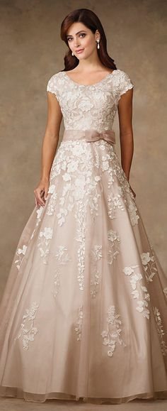 Venise lace on organza over satin A-line gown with cap sleeves, scooped neckline, organza natural waistband with side bow, chapel length train.