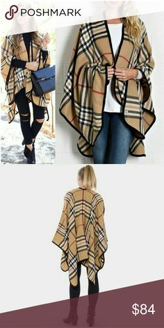 ♦NEW ARRIVAL♦ Camel plaid Ruana RESTOCKED keep yourself snug as a bug in this  classic ruana wrap acrylic, one size fits all ✔ Nadia Rima Jackets & Coats
