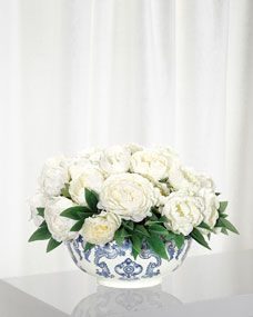 Shop Peony Floral Arrangement in Porcelain Bowl from NDI at Horchow, where you'll find new lower shipping on hundreds of home furnishings and gifts. Peony Arrangement, Floral Arrangements, Table Arrangements, Artificial Flower Arrangements, Artificial Flowers, Table Flowers, Flower Vases, Faux Flowers, Ceramic Vase