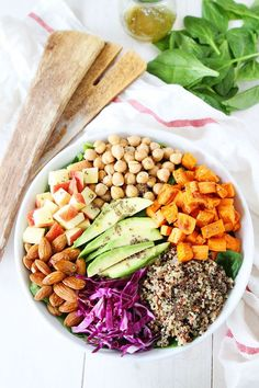 Power Salad with Lemon Chia Seed Dressing #recipe #healthy #salad