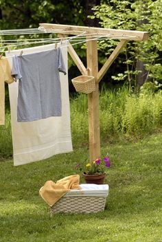 sweet clothes line post with basket for pins!