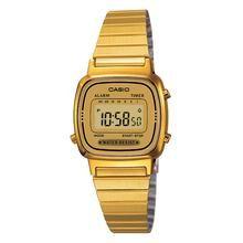 Relógio Feminino Casio, Cronômetro, Pulseira de Aço Inoxidável, Resistente à Água - LA670WGA-9DF
