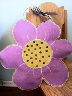 Purple Flower Burlap Door Hanger by ModernRusticGirl on Etsy, $25.00