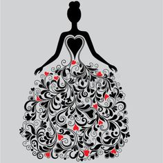 Silhueta do vetor do vestido elegante photo