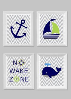 nautical nursery art no wake zone whale anchor sailboat grey green navy boys room decor ocean beach house fish baby decor chevron - Etsy Baby Room